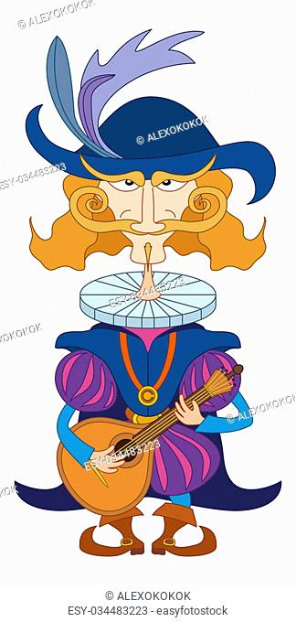 Noble cavalier in an old fashioned costume serenades, playing on the mandolin for his lover, funny comic cartoon character