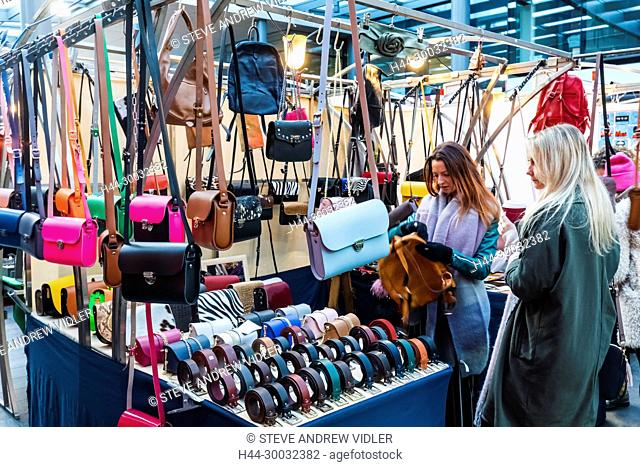 England, London, Shoreditch, Spitafields Market, Leather Goods Stall