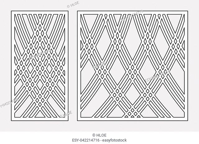 Template for cutting. Lines art pattern. Laser cut. Set ratio 1:2, 1:1. Vector illustration