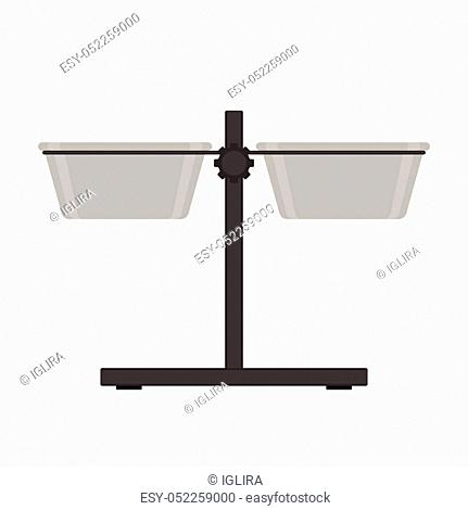 Vector illustration of dog bowls on height adjustable stand. Pet equipment isolated on white background