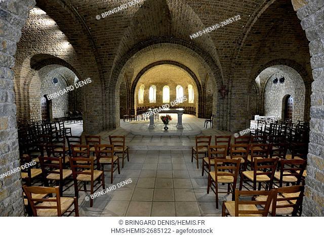 France, Doubs, Besancon, Les Buis, Notre Dame de la Libération to 1949, edifice of remembrance and memory, the crypt
