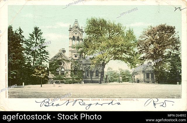 Entrance to Spring Grove Cemetery, Cincinnati, Ohio. Detroit Publishing Company postcards 6000 Series. Date Issued: 1898 - 1931 Place: Detroit Publisher:...