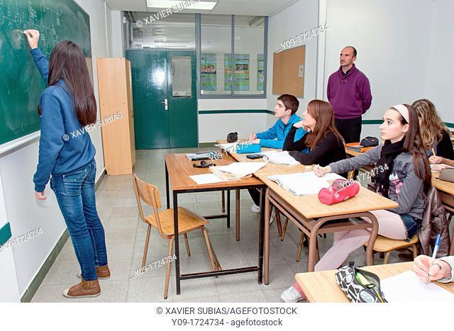 Secundary school classroom, Salesians Sant Vicenç dels Horts, Baix Llobregat, Barcelona, Catalonia, Spain