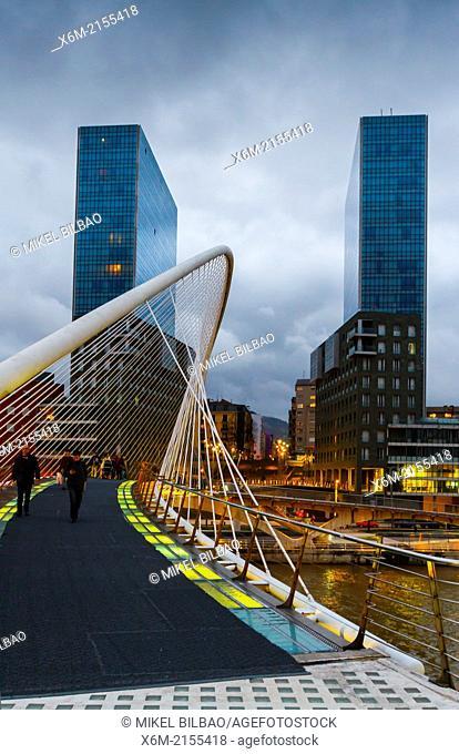 Zubizuri or Calatrava bridge and Isozaki Towers. Bilbao, Spain, Europe