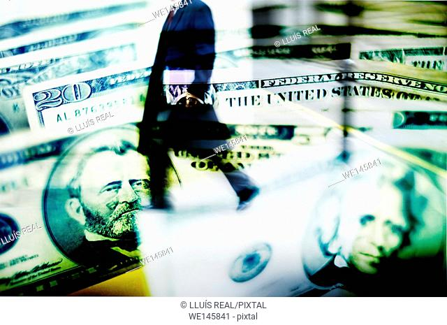 Digital composition of a unrecognizable man silhouette with executive briefcase on a dollars background