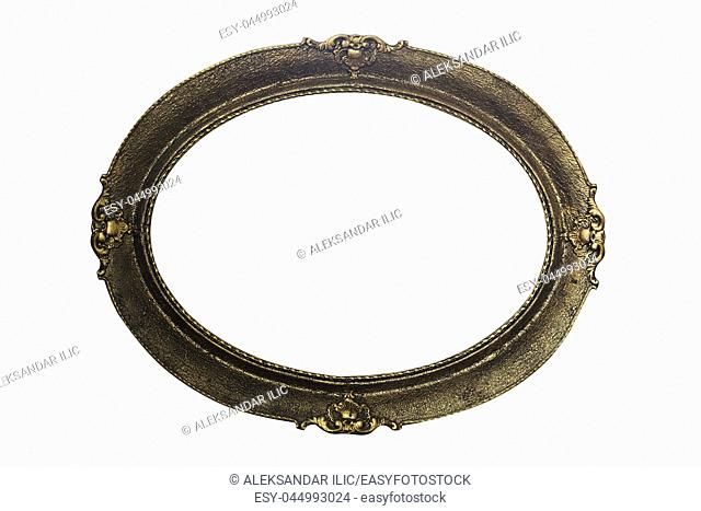 Ornate Picture Frame Isolated On White Background. Antique and Vintage Objects
