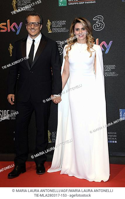 Director Gabriele Muccino and wife Angelica Russo during the red carpet of David di Donatello Awards, Rome, ITALY-27-03-2017