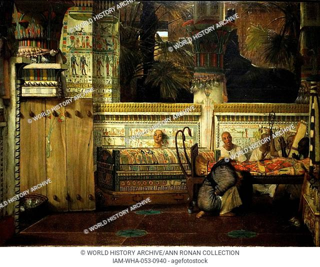 Painting titled 'The Egyptian Widow' painted by Lawrence Alma-Tadema (1836-1912) Dutch painter of special British denizenship. Dated 1872