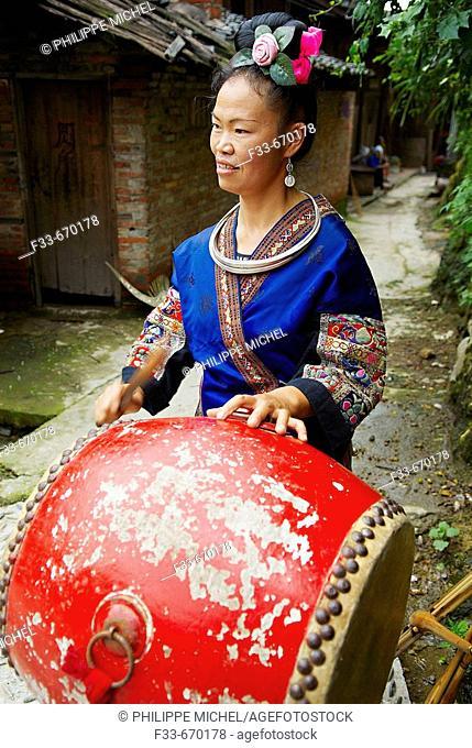 China. Guizhou province. Xijiang village. Skirt Miao