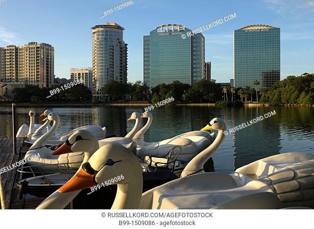 Swan Paddle Boats Downtown Skyline Lake Eola Park Orlando Florida USA