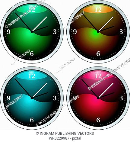 Vector clock variation of four colourful time pieces