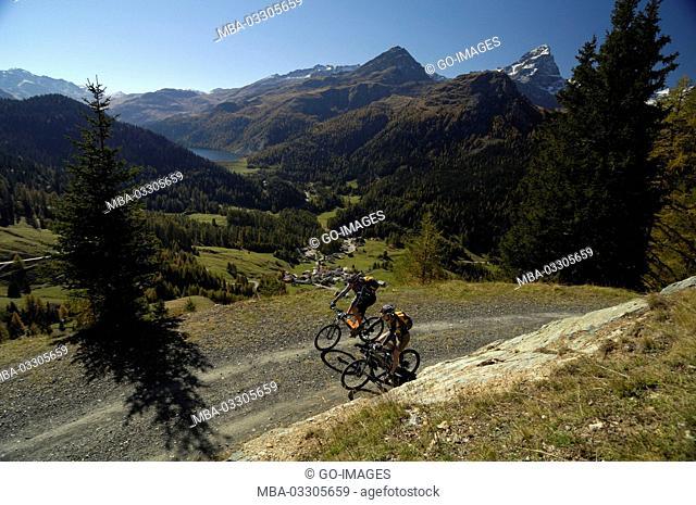 Mountain biker near Svognin, Canton of Grisons, Switzerland