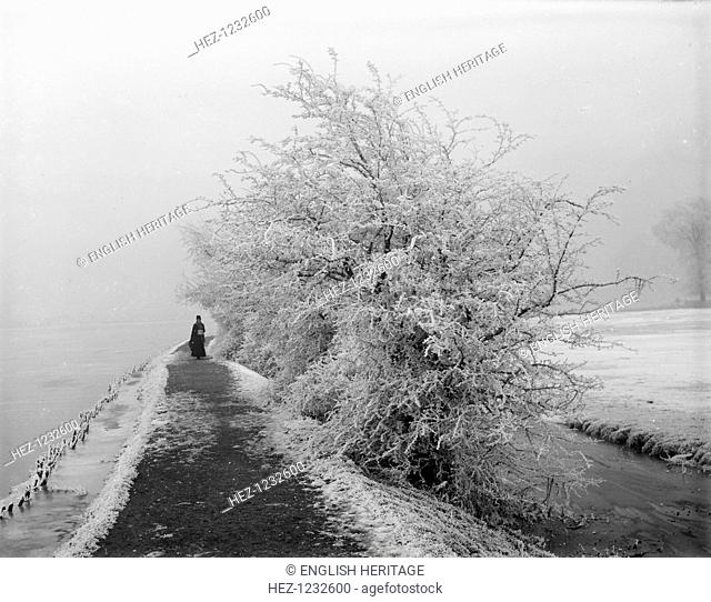 Binsey, Oxford, Oxfordshire, 1880. A woman walking along a path near a backwater with a hedgerow covered in rime frost