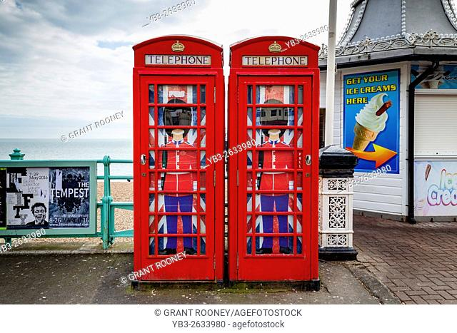 Traditional Red Telephone Boxes, Brighton, East Sussex, UK