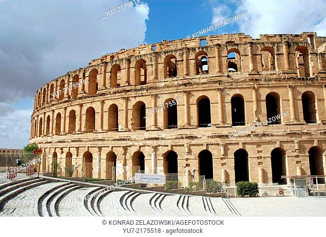 Roman colosseum in El Jem (or El Djem), Tunisia