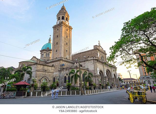 Manila Cathedral in Intramuros historic district at sunset, Manila, National Capital Region, Philippines