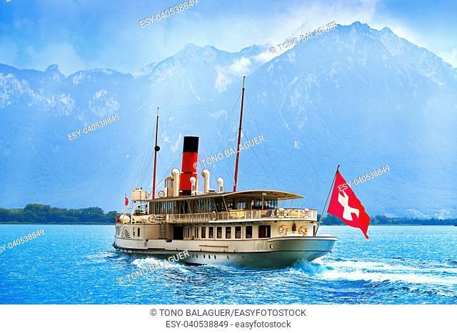 Geneve Lake Leman Geneva paddle steamer ship Switzerland with Swiss flag