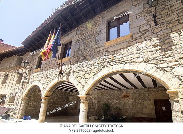 Villarroya de los Pinares village in Teruel Aragon Spain. City hall palace
