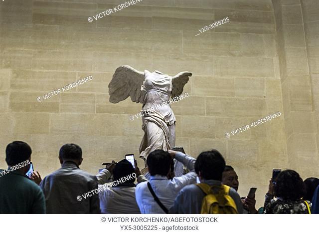 Nike of Samothrace ancient Greek statue in Louvre museum, Paris