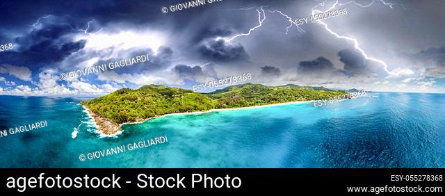 Aerial panoramic view of Praslin with storm approaching, Seychelles Islands