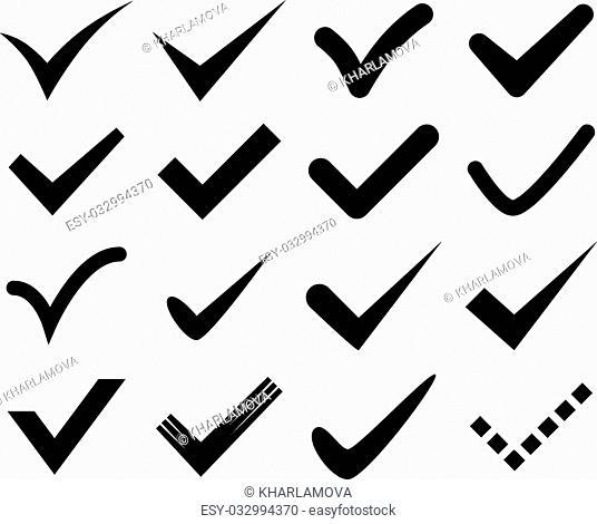 Black check marks. Vector illustration. Isolated on white background. Set