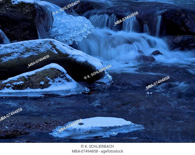 Europe, Germany, Saxony-Anhalt, Harz National Park, Snow and Ice on the Ilse, Ilsetal, Ilsenburg
