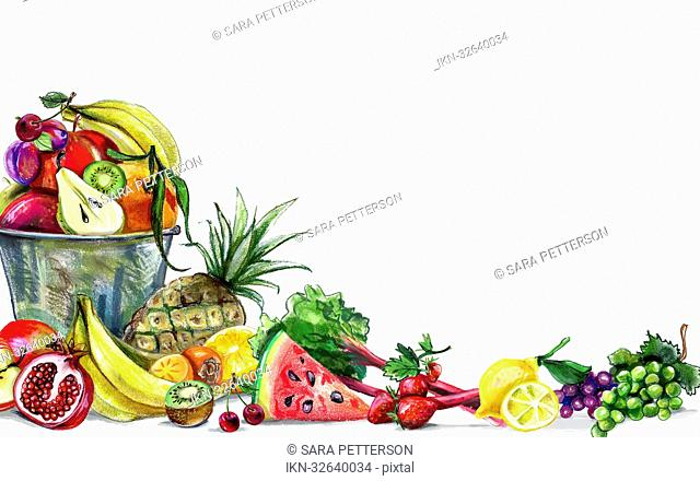 Variation of fresh fruit and white background