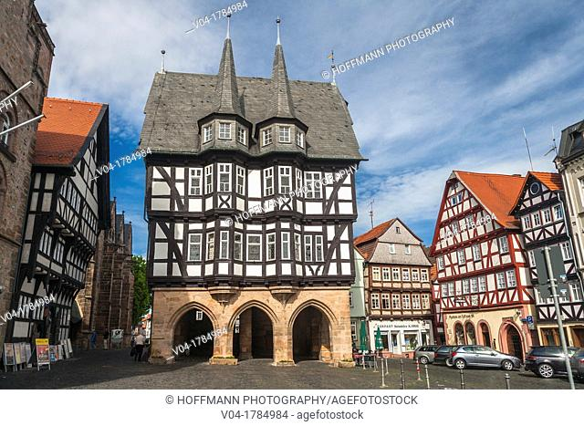 The picturesque city hall in Alsfeld on the German Fairy Tale Route, Hesse, Germany, Europe