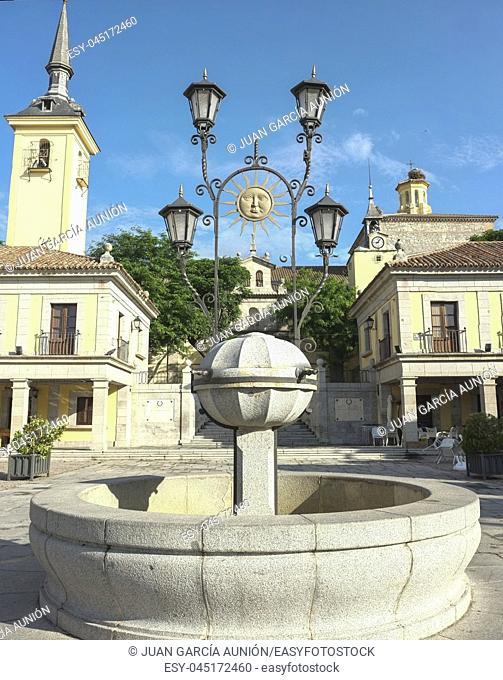 Brunete, Spain - June 3rd, 2017: Main Square fountain of Brunete. Madrid, Spain