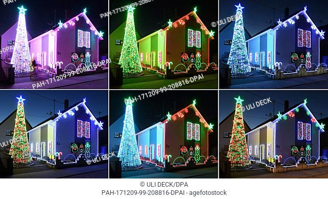 COMBO - A house is decorated with some 30,000 LED lights for the Christmas season in Karlsruhe, Germany, 7 December 2017