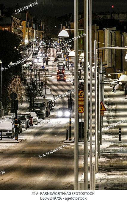 Stockholm, Sweden The neighborhood of Aspudden at night