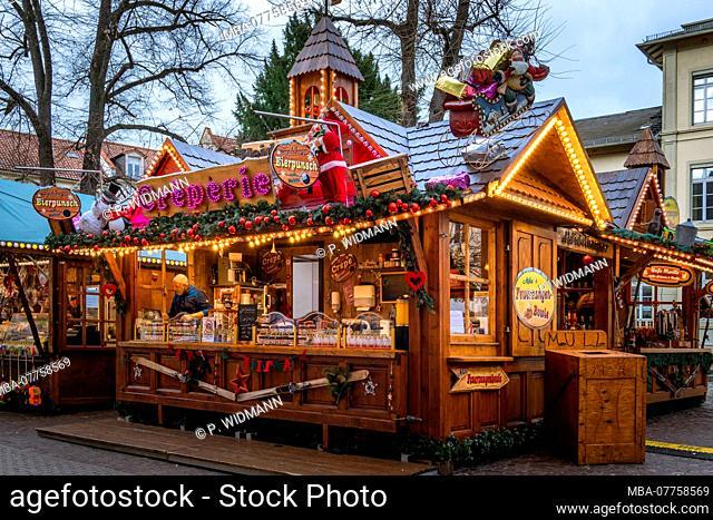 Christmas market on Anatomiegarten Square in the Old Town of Heidelberg, Heidelberg, Baden-Wuerttemberg, Germany, Europe