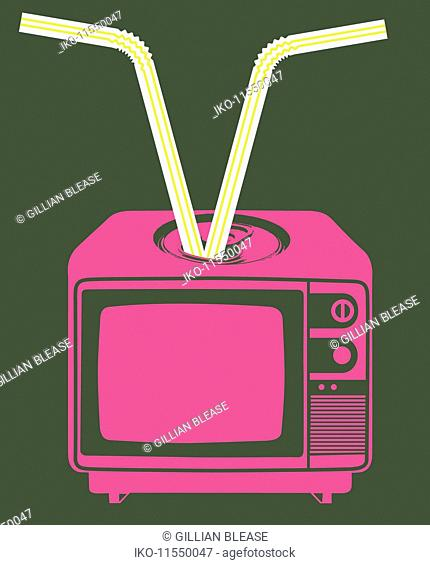 Drinking straws coming out of television