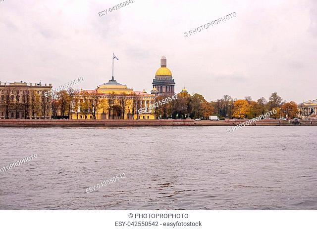 St. Isaac's Cathedral in St. Petersburg in autumn beautiful architecture