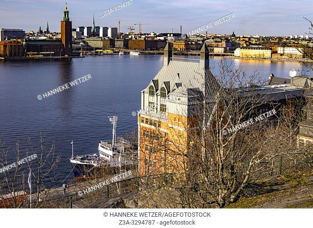 Panoramic view on the Stockholm Town Hall from Skinnarviksberget, Stockholm, Sweden