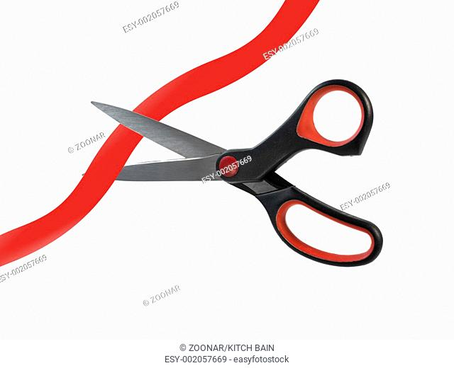 A pair of scissors isolated against a white background