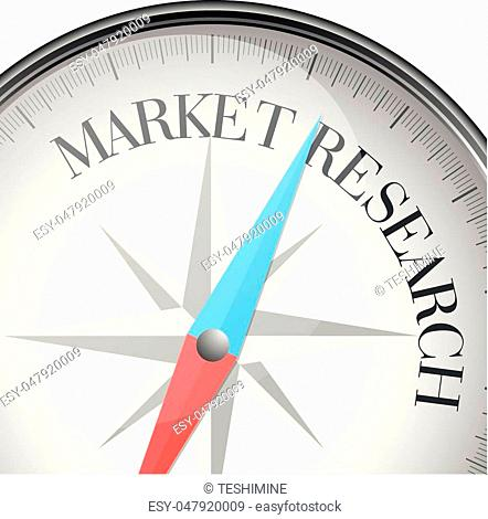detailed illustration of a compass with Market Research text, eps10 vector