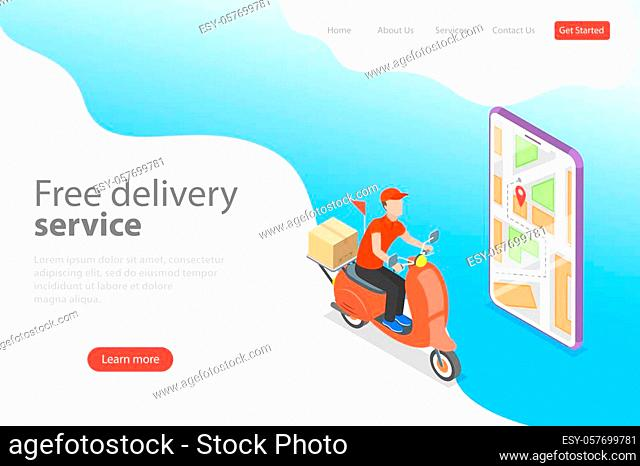 Isometric flat vector landing page template of delivery by scooter, courier service, goods shipping, food online ordering