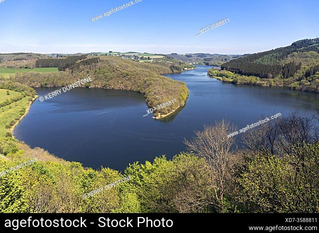 "Europe, Luxembourg, Insenborne, Lac Sure viewed from """"The Belvedere"""" Viewing Platform"