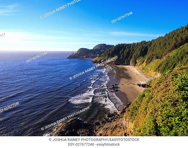 Coastline along Heceta Head where the famed lighthouse is located in Oregon