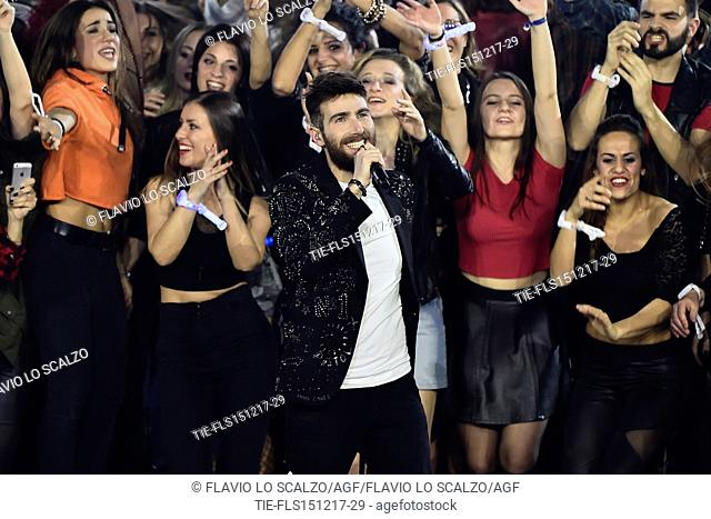 The winner of X Factor 2017 Lorenzo Licitra at the talent show X Factor 2017, Milan, ITALY-14-12-2017