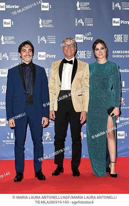 Massimo Ghini (C) with daughter during the David di Donatello Award red carpet, Rome, ITALY-27-03.2019