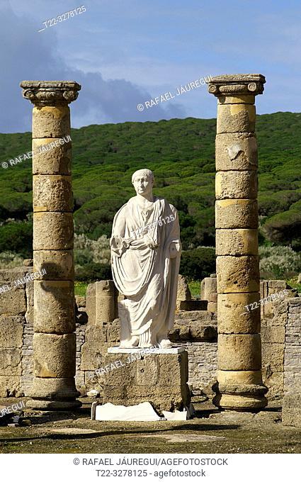 Rate (Spain). Sculpture of Trajan in the Roman city of Baelo Claudia