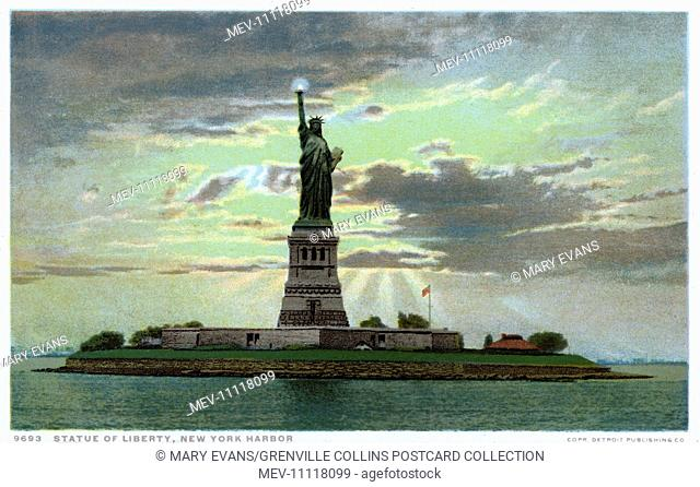 Statue of Liberty in New York Harbour, New York, USA - created by French sculptor and designer Frederic Auguste Bartholdi and opened in 1886