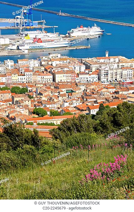 Port and town, Sete, Herault 34, Languedoc-Roussillon region, France