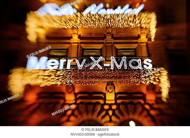 International Christmas greetings, facade, HAMBURGER HOF, shopping arcade, Jungfernstieg, Hamburg, Germany, Europe