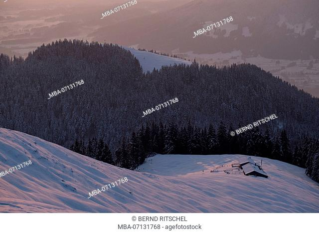 morning mood on the Zwiesel with view to Schnaiteralm and Blomberg, close Bad Tölz, Bavarian Alps, Bavaria, Germany