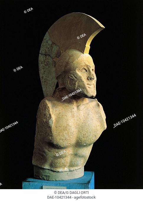Greek civilization, 5th century b.C. Marble bust of a Spartan warrior called 'Leonidas' (490-480 b.C.). From Sparta.  Sparta