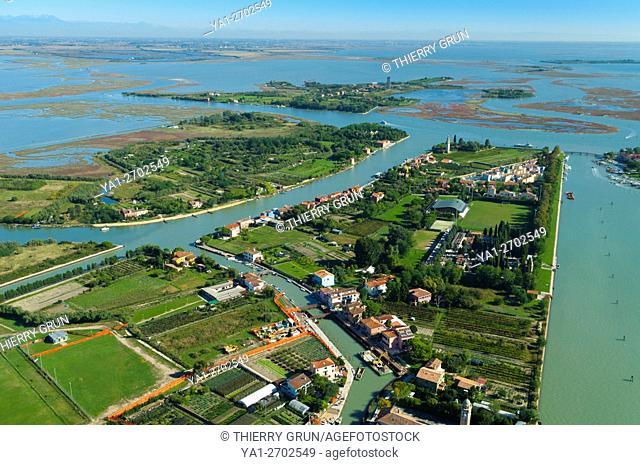 Italy, Venice lagoon, isola Mazzorbo, Mazzorbetto and dei Laghi islands (aerial view)