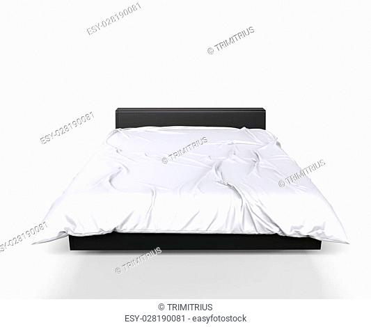 Modern Big Bed - White Sheets - Front View